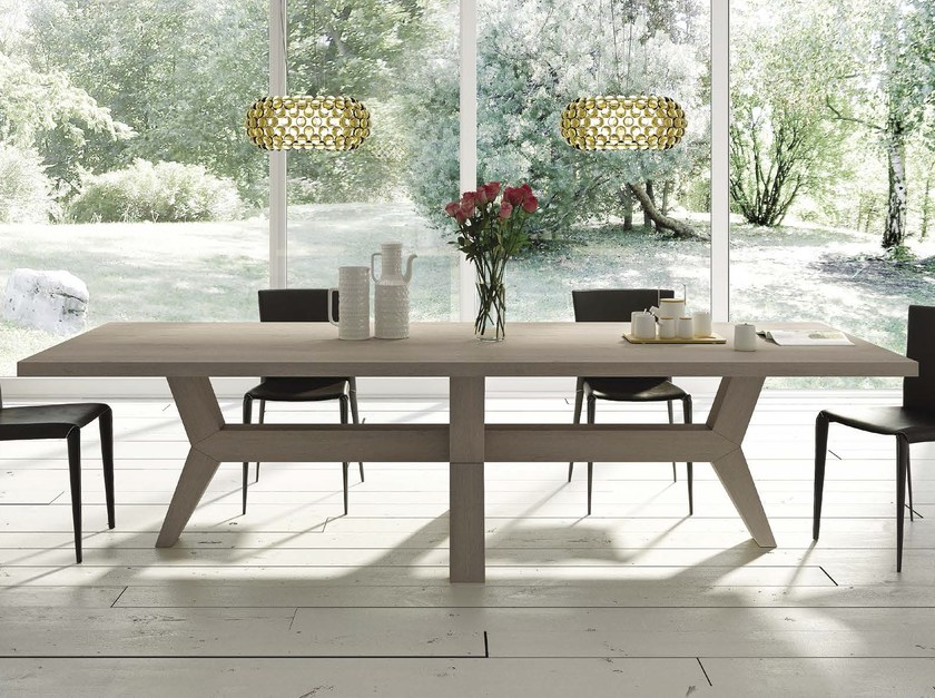 Rectangular solid wood table FUOCO by Domus Arte
