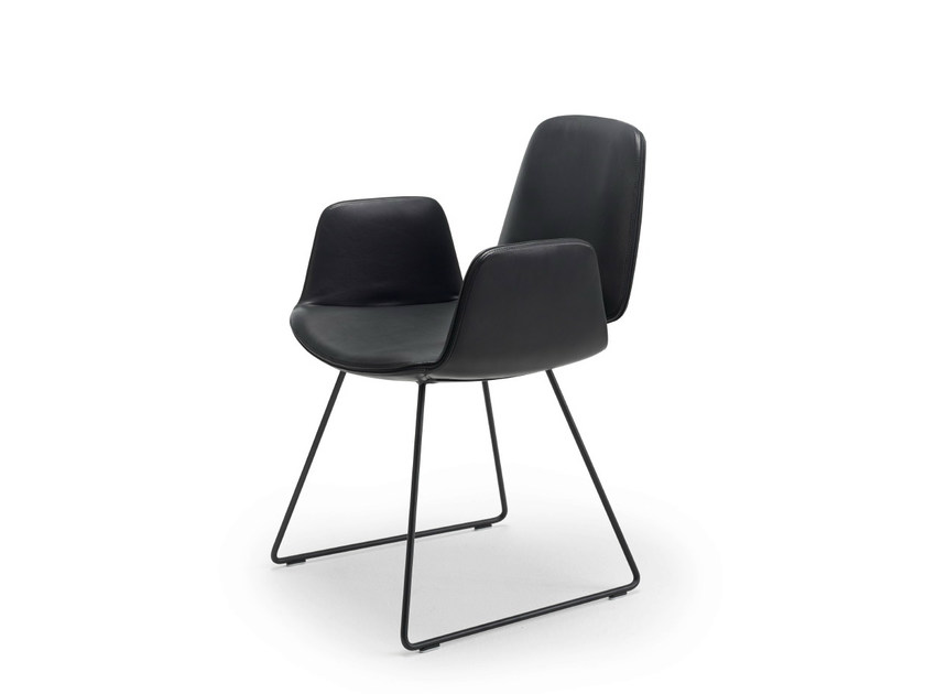 Sled base chair with armrests TILDA ARMCHAIR | Sled base chair by Freifrau
