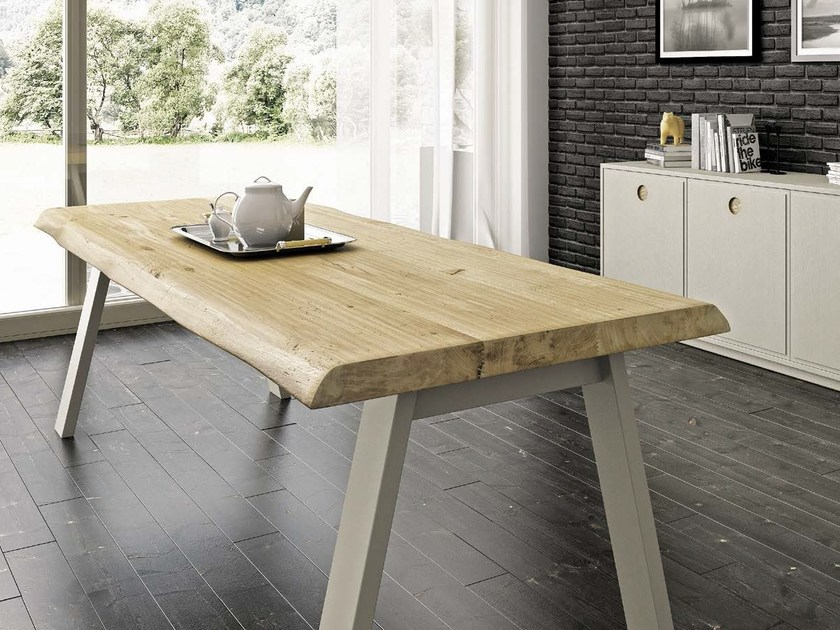 Rectangular steel and wood table PAN by Domus Arte