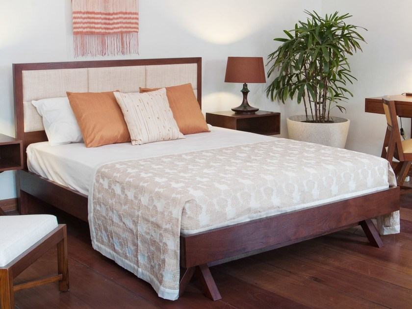 Wooden queen size bed with upholstered headboard JALAN | Bed by WARISAN