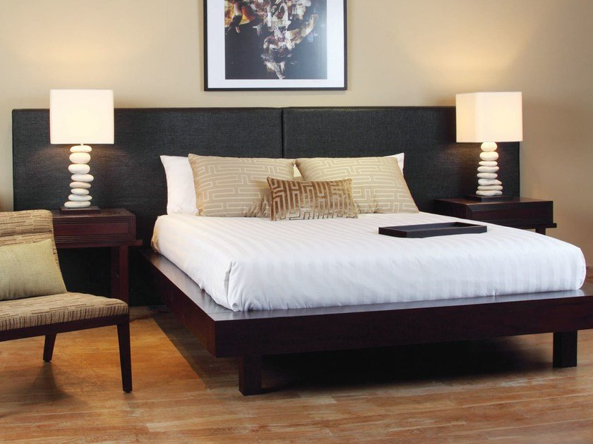 Wooden bed with upholstered headboard EDG - E | Bed by WARISAN