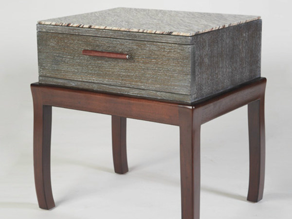 Square wooden bedside table with drawers DUO | Bedside table by WARISAN