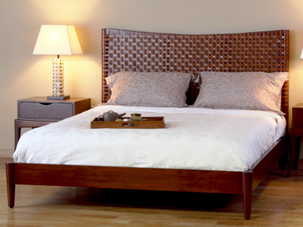 Wooden bed with high headboard EMBRACE | Bed by WARISAN