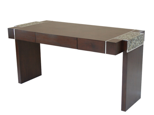 Rectangular wooden writing desk with drawers SAMAYA | Writing desk by WARISAN