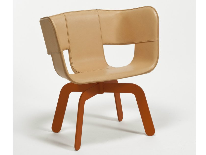 Swivel tanned leather easy chair TRIA   Easy chair by Colé Italia