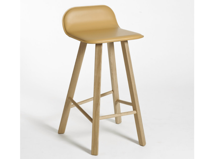 High tanned leather stool with footrest TRIA | Tanned leather stool by Colé Italia
