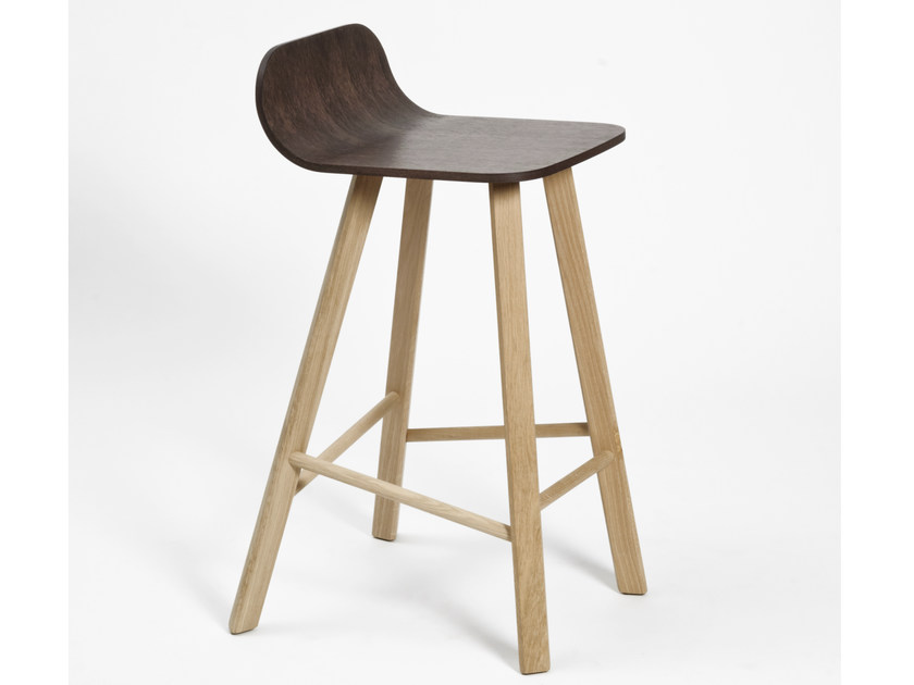 High wood veneer stool with footrest TRIA | High stool by Colé Italia