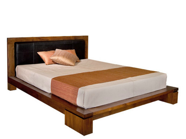 Wooden bed with upholstered headboard MA | Bed by WARISAN