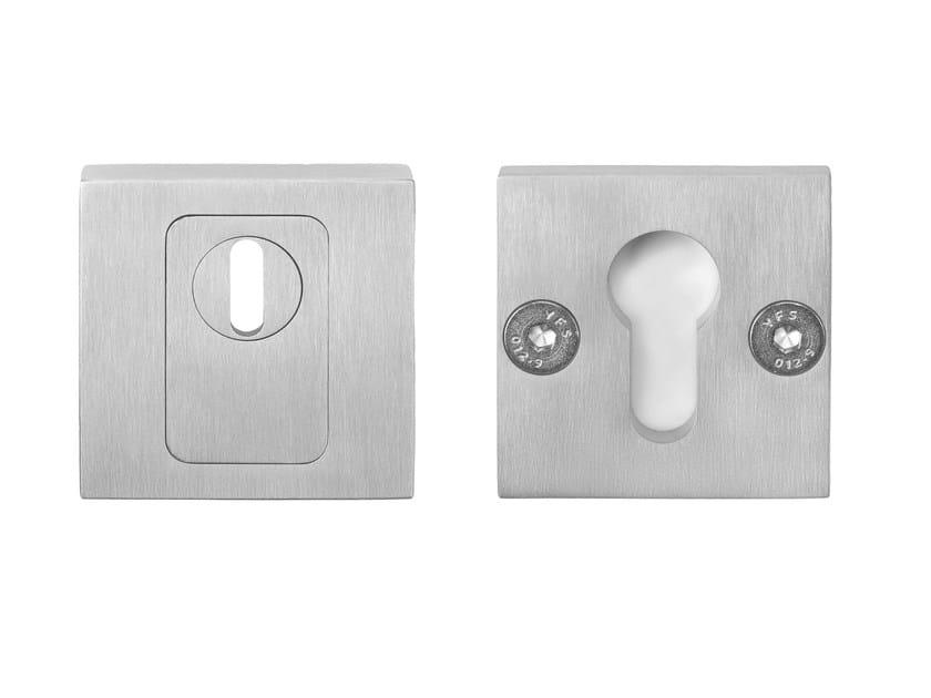 Square brushed steel keyhole escutcheon RIBBON | Brushed steel keyhole escutcheon by Formani