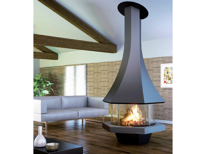 Central fireplace with panoramic glass EOLIA 907 by JC Bordelet