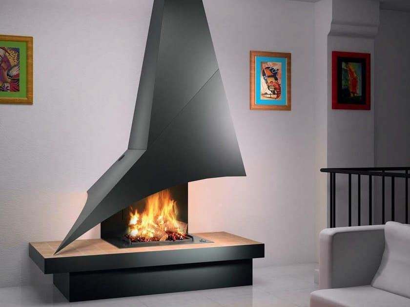 Wall-mounted metal fireplace ELISA 981 by JC Bordelet