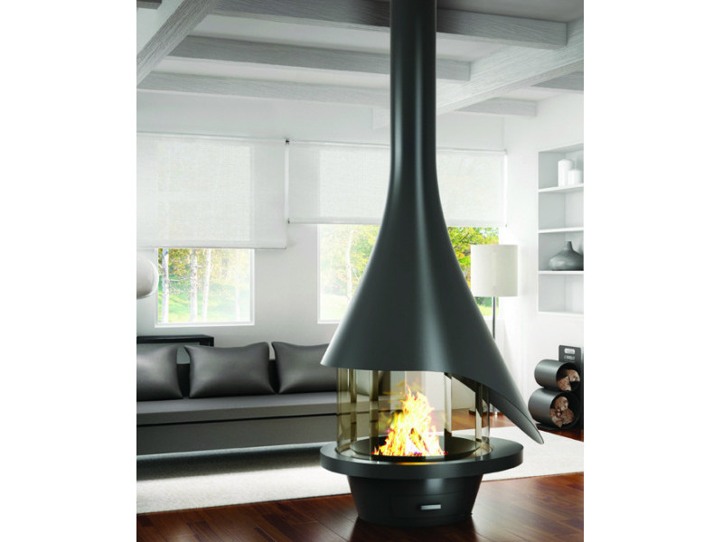 Central metal fireplace with panoramic glass ELENA 913 by JC Bordelet