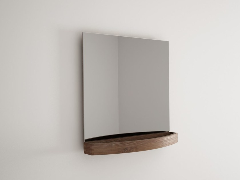 Wall-mounted wooden bathroom mirror MILES | Square mirror by KARPENTER