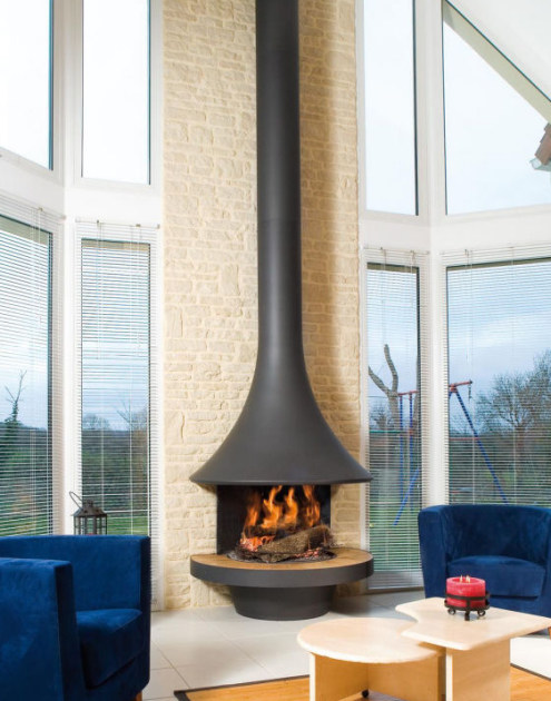 Open curved wall-mounted fireplace EVA 992 | Curved fireplace by JC Bordelet