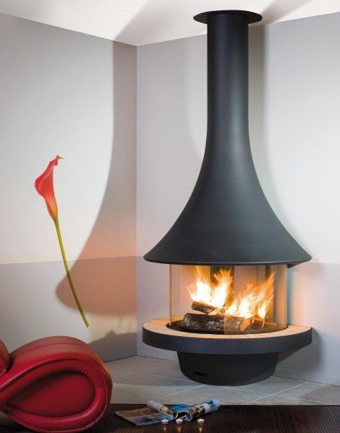 Wall-mounted fireplace with panoramic glass EVA 992 | Wall-mounted fireplace by JC Bordelet