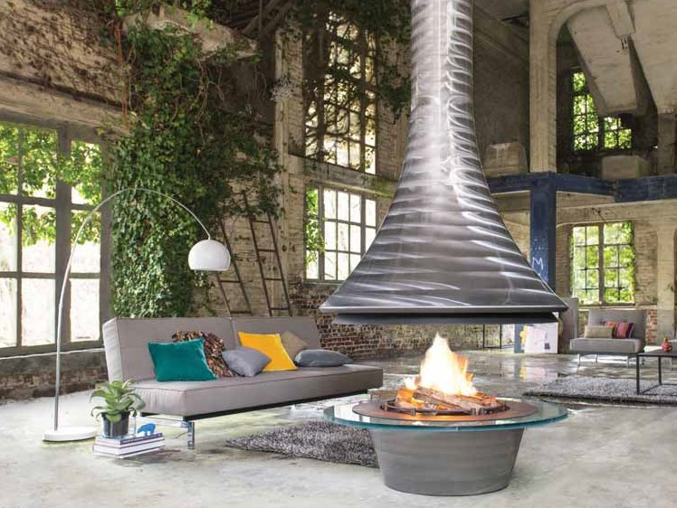 Open central steel fireplace EVA 992 | Open fireplace by JC Bordelet