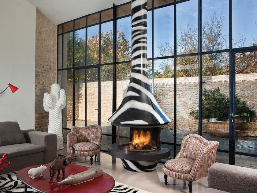 Central metal fireplace EVA 992 ZÈBRE by JC Bordelet