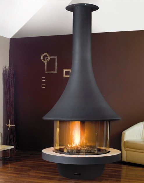 Central metal fireplace with panoramic glass EVA 992   Metal fireplace by JC Bordelet