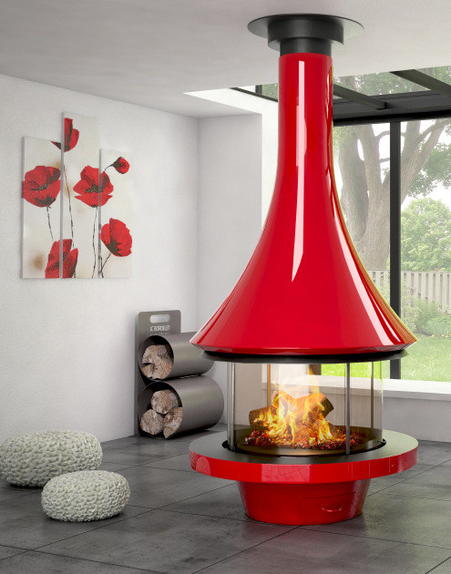 Central lacquered metal fireplace EVA 992 | Lacquered fireplace by JC Bordelet