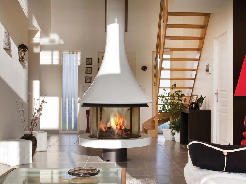 Lacquered metal fireplace with panoramic glass EVA 992 | Lacquered fireplace by JC Bordelet