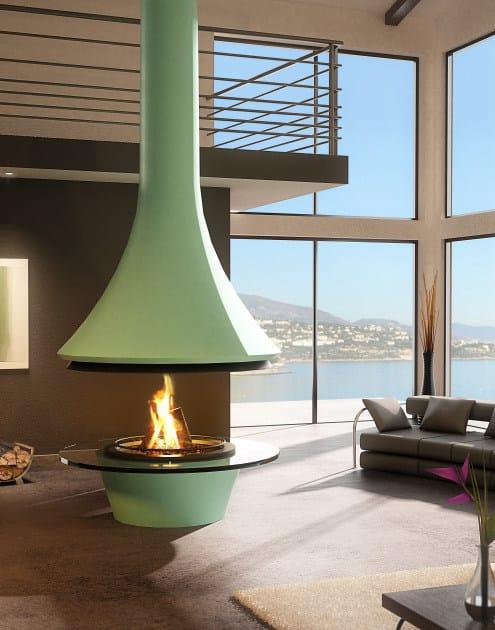 Wood-burning central metal fireplace EVA 992 | Fireplace by JC Bordelet
