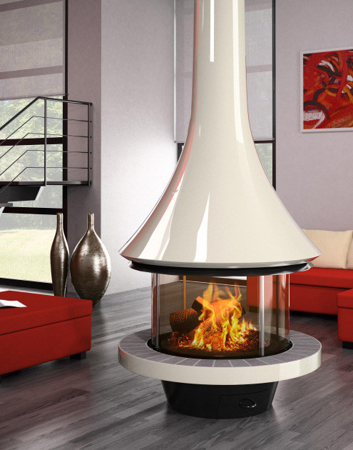 Wood-burning central fireplace with panoramic glass EVA 992 | Contemporary style fireplace by JC Bordelet