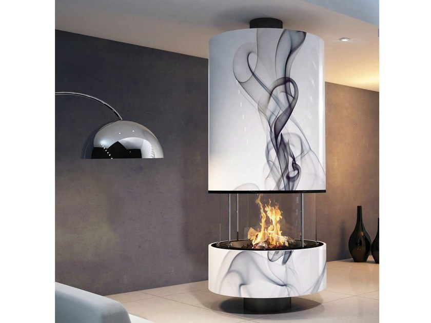 Central fireplace with panoramic glass IRENA by JC Bordelet
