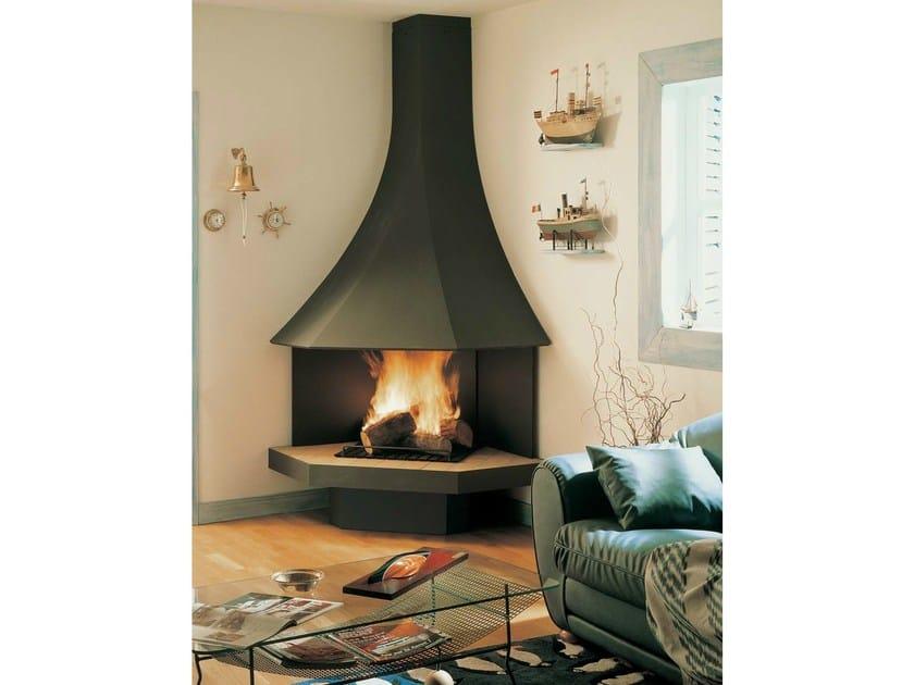 Corner open wall-mounted fireplace JULIETTA 985 | Open fireplace by JC Bordelet