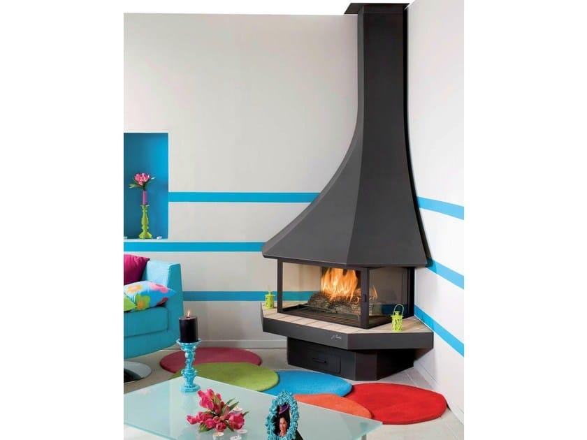 Corner closed wall-mounted fireplace JULIETTA 985 | Corner fireplace by JC Bordelet