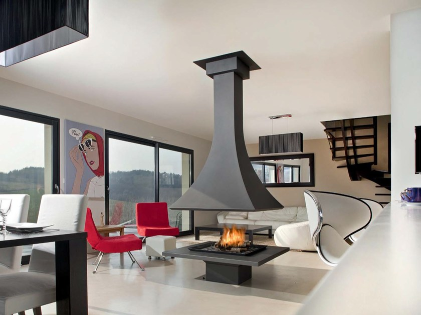 Wood-burning open central fireplace JULIETTA 985 | Wood-burning fireplace by JC Bordelet