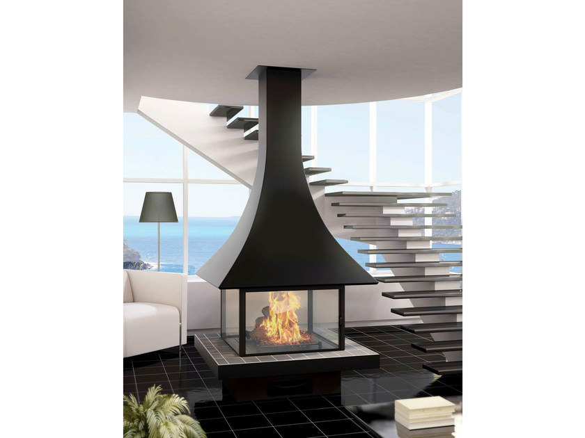 Central fireplace with panoramic glass JULIETTA 985 | Fireplace with panoramic glass by JC Bordelet