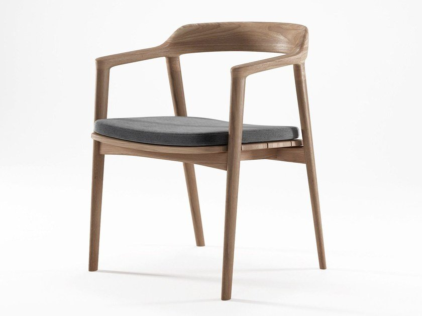 Teak chair with armrests GRASSHOPPER | Chair with armrests by KARPENTER