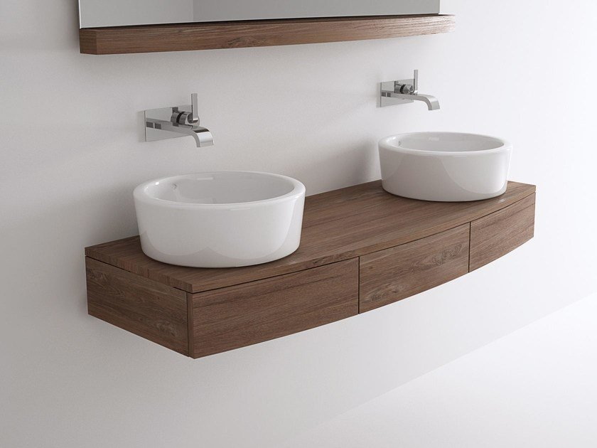 Double wall-mounted wooden vanity unit MILES | Double vanity unit by KARPENTER