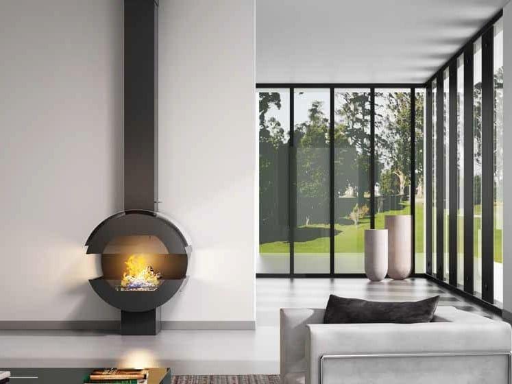 Open curved fireplace LARA 912 by JC Bordelet