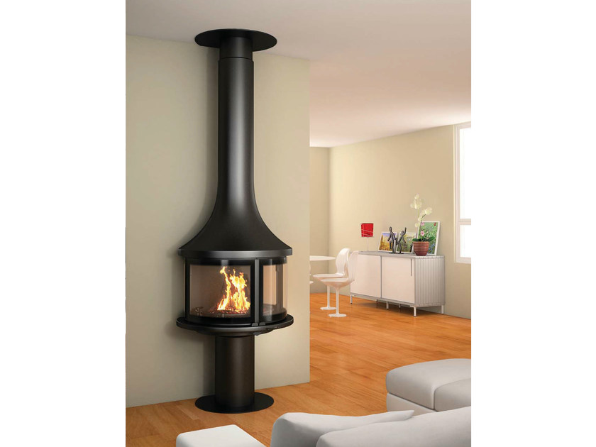Closed wall-mounted fireplace with panoramic glass LEA 998 | Wall-mounted fireplace by JC Bordelet