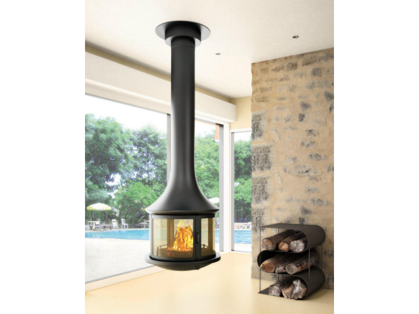 Curved hanging fireplace with panoramic glass LEA 998 | Hanging fireplace by JC Bordelet
