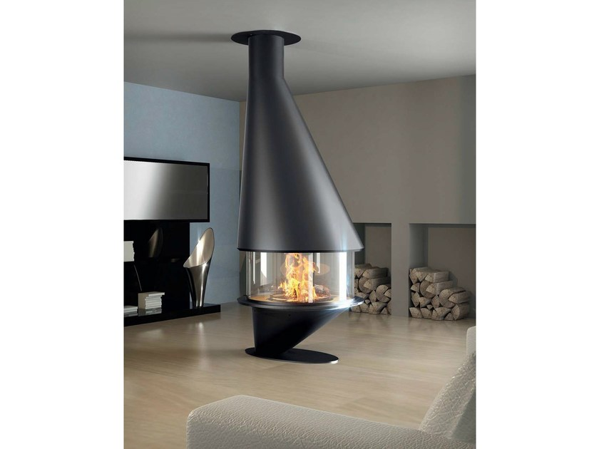 Central closed fireplace with panoramic glass OCEA 911 by JC Bordelet