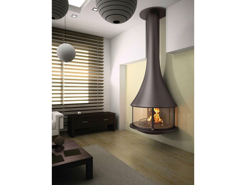 Wall-mounted fireplace with panoramic glass ZELIA 908   Wall-mounted fireplace by JC Bordelet
