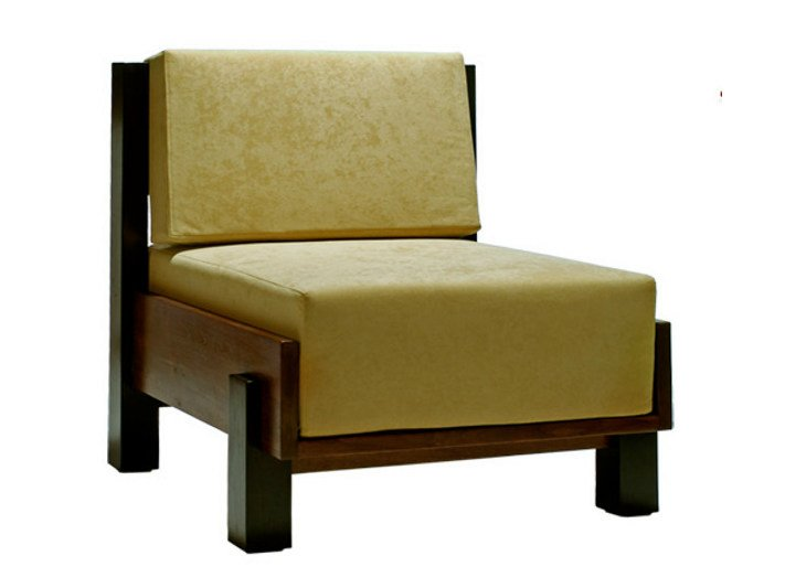 Upholstered fabric armchair MIRAI | Armchair by WARISAN