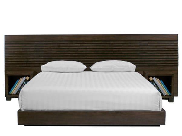 Wooden headboard with integrated nightstands MIRAI | Headboard by WARISAN