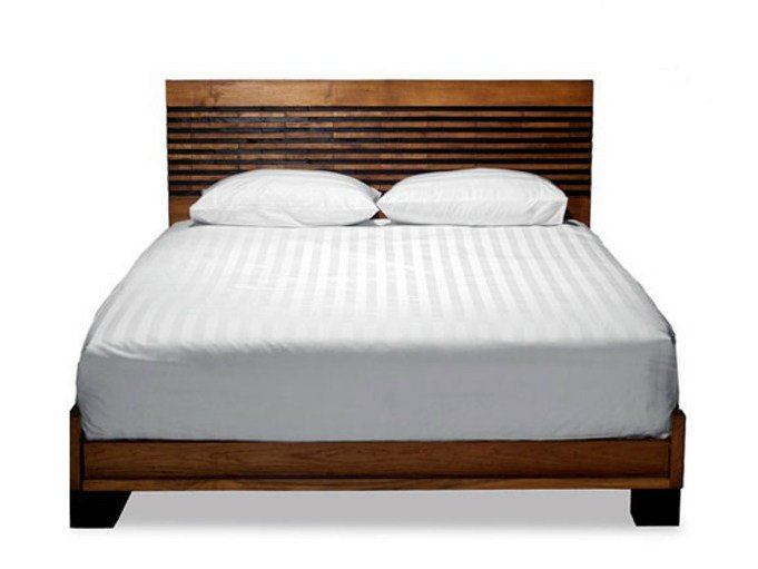 Wooden double bed with high headboard MIRAI | Bed by WARISAN