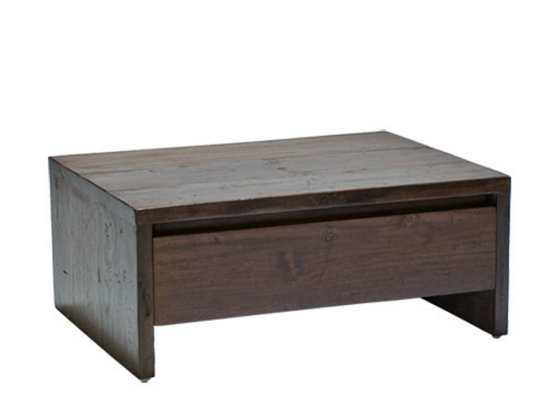 Rectangular wooden bedside table with drawers NEO PRIMITIVE | Bedside table by WARISAN