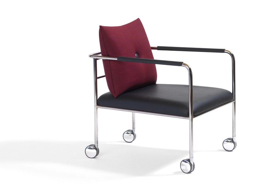 Upholstered armchair with casters MORRIS JR | Armchair with casters by Blå Station