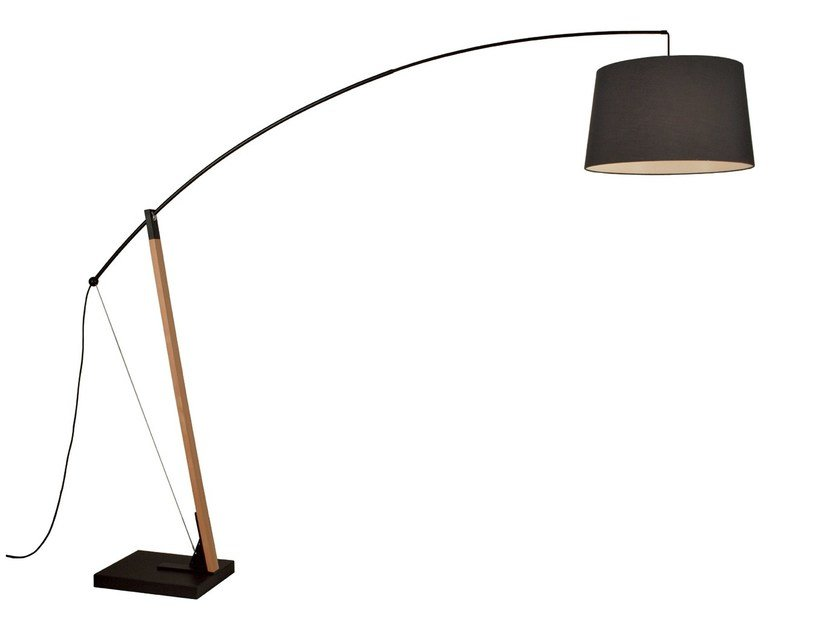 Wood and fabric floor lamp ARCHER by TEKNI-LED