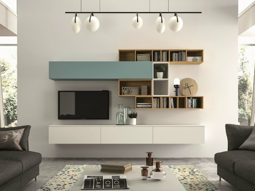 Sectional storage wall SLIM 100 by Dall'Agnese