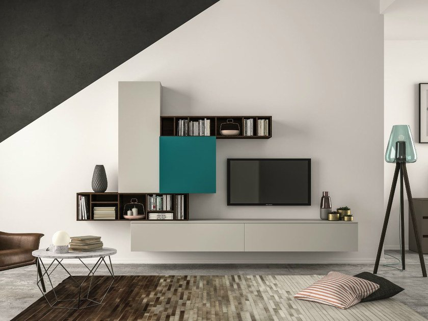 Sectional storage wall SLIM 101 by Dall'Agnese