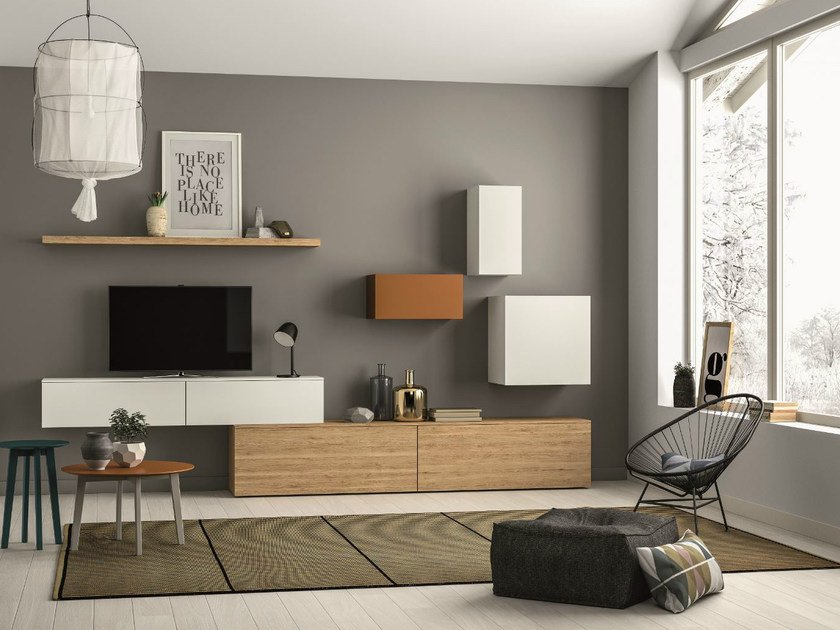 Sectional storage wall SLIM 102 by Dall'Agnese