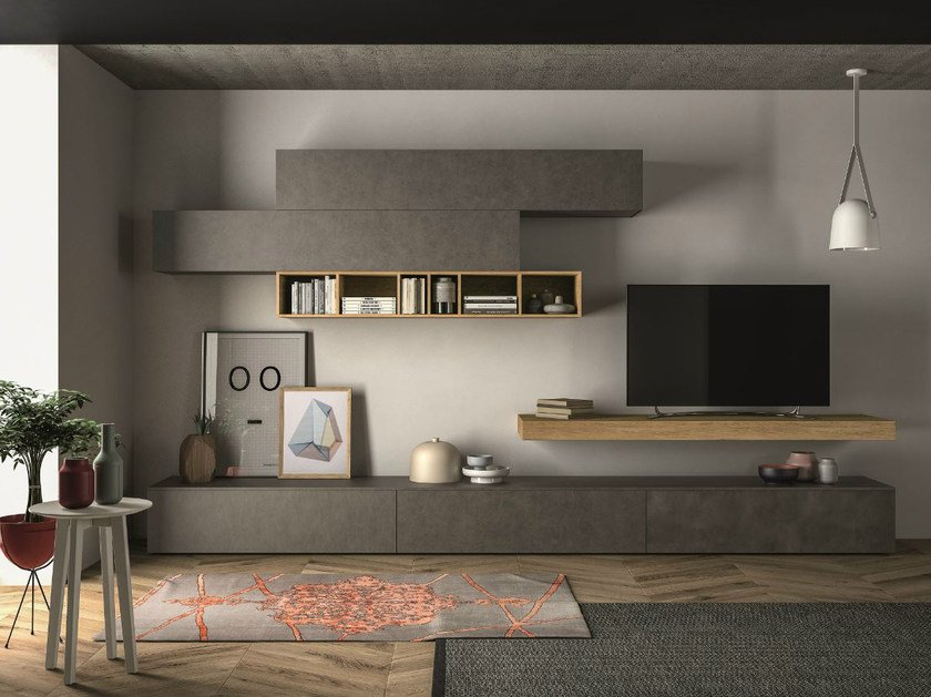 Sectional storage wall SLIM 105 by Dall'Agnese