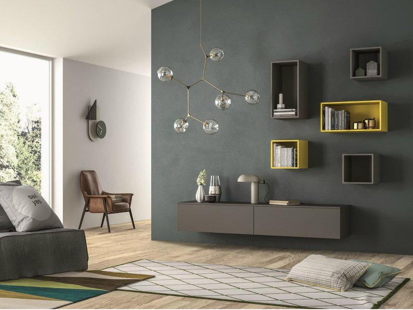 Sectional storage wall SLIM 103 by Dall'Agnese