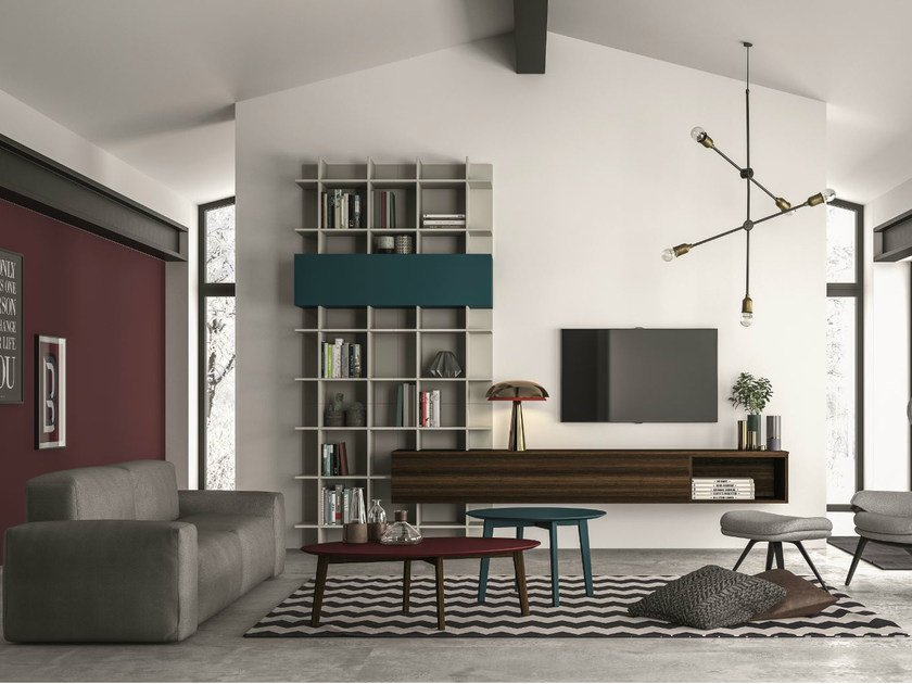 Sectional storage wall SLIM 106 by Dall'Agnese